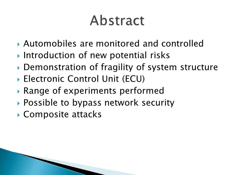 Abstract Automobiles are monitored and controlled