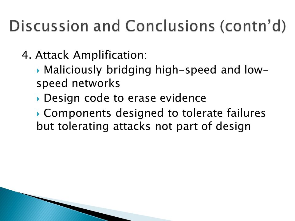 Discussion and Conclusions (contn'd)