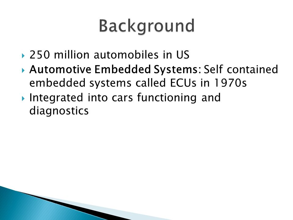 Background 250 million automobiles in US