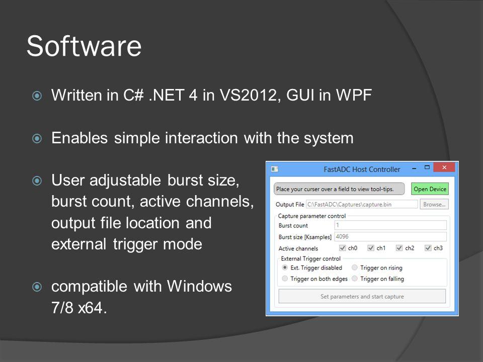Software Written in C# .NET 4 in VS2012, GUI in WPF