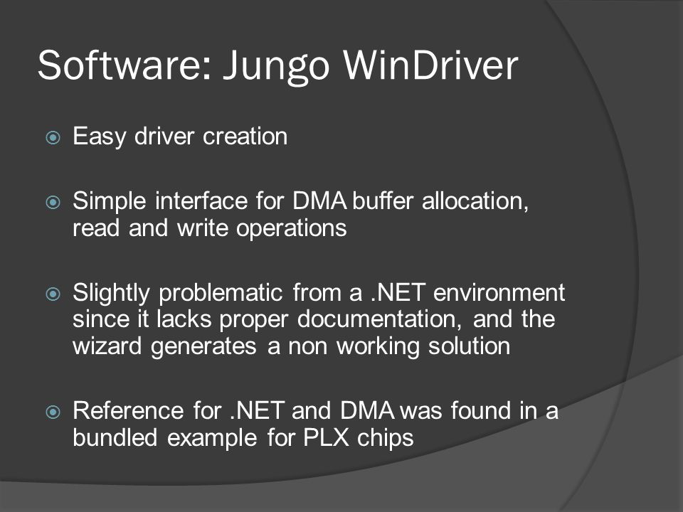 Software: Jungo WinDriver