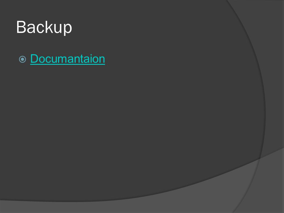 Backup Documantaion