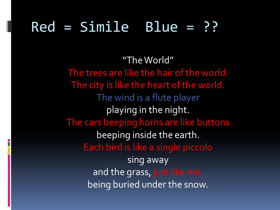 Red = Simile Blue =