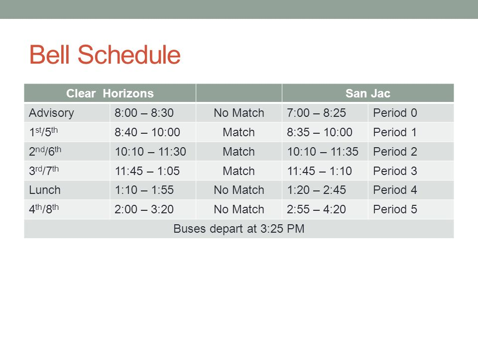 Bell Schedule Clear Horizons San Jac Advisory 8:00 – 8:30 No Match