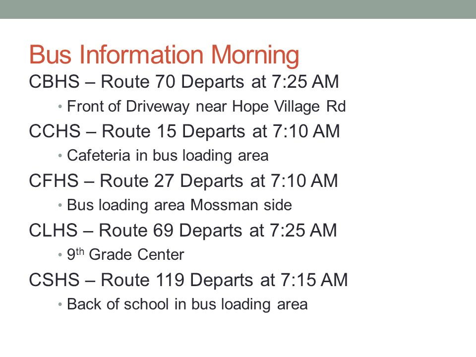 Bus Information Morning