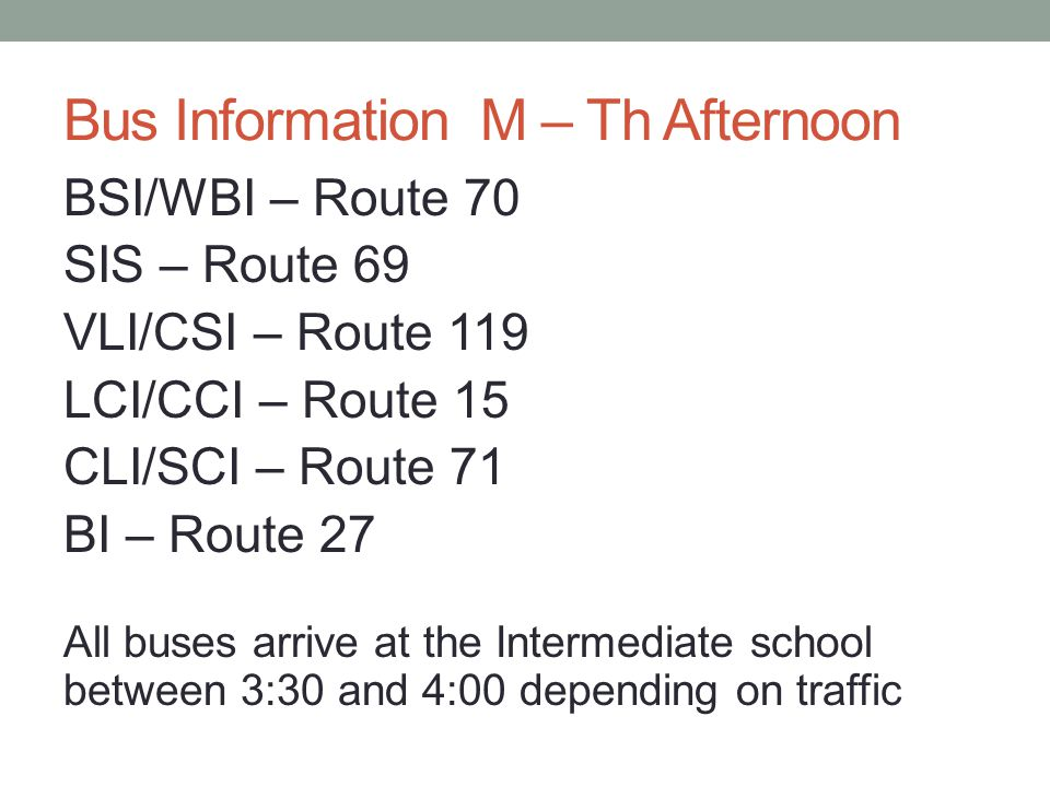 Bus Information M – Th Afternoon