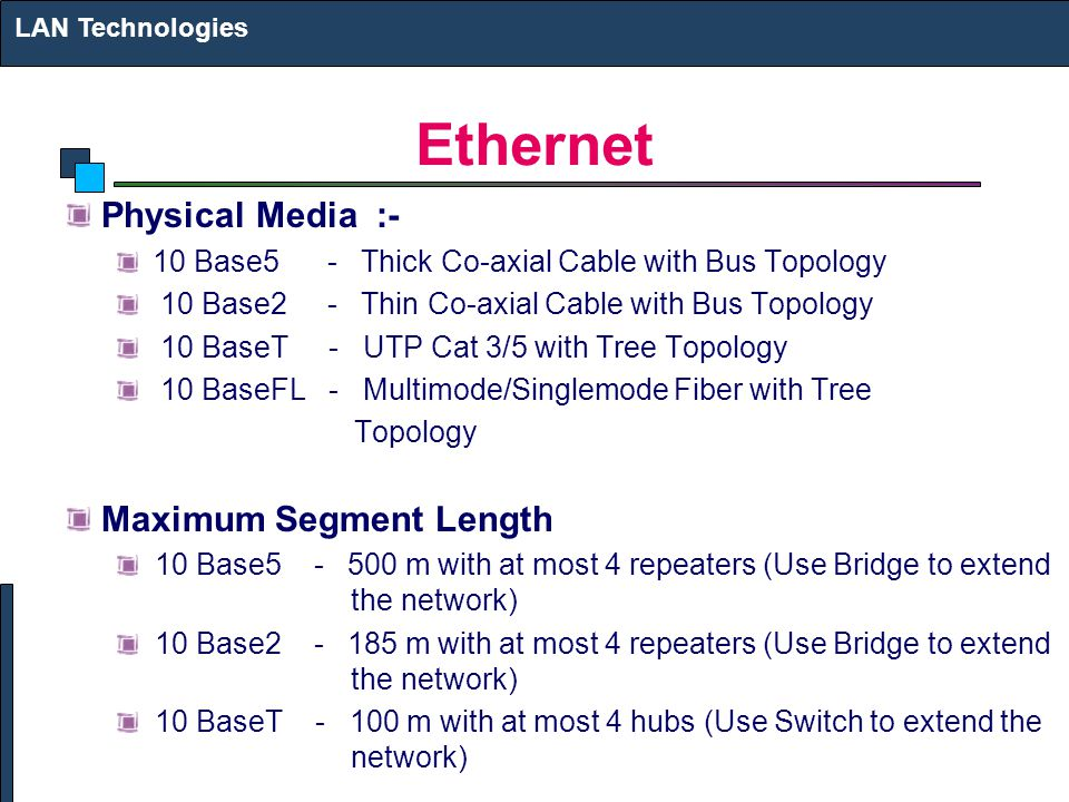 Ethernet Physical Media :- Maximum Segment Length