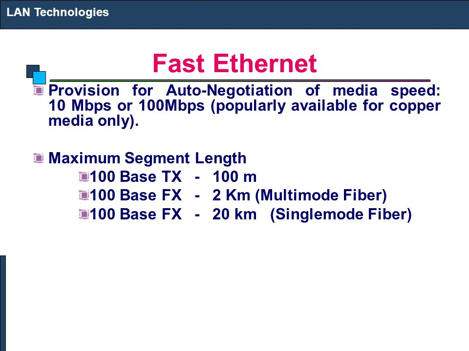 LAN Technologies Fast Ethernet. Provision for Auto-Negotiation of media speed: 10 Mbps or 100Mbps (popularly available for copper media only).