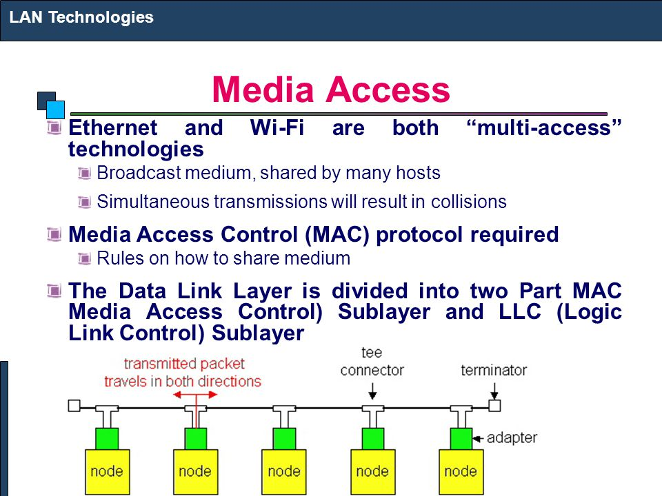 Media Access Ethernet and Wi-Fi are both multi-access technologies