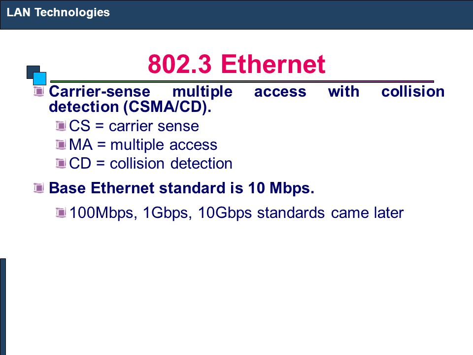 LAN Technologies Ethernet. Carrier-sense multiple access with collision detection (CSMA/CD).