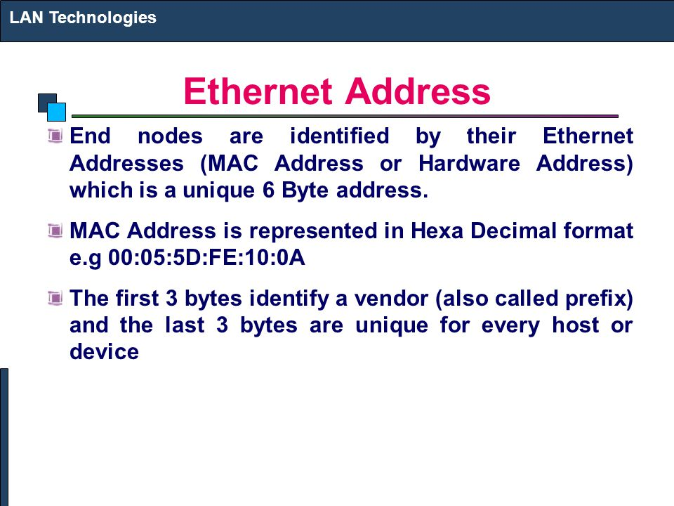 LAN Technologies Ethernet Address.