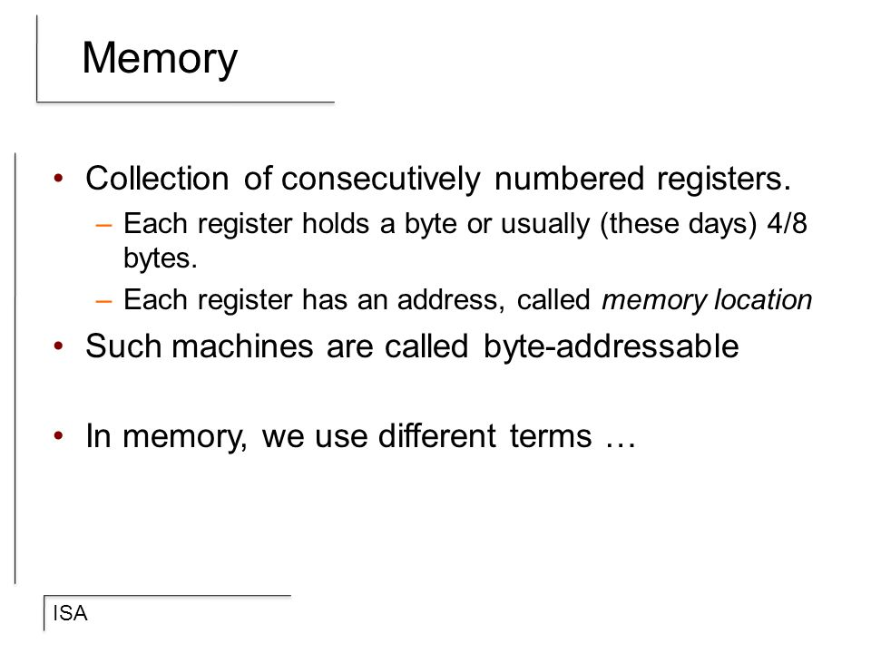Memory Collection of consecutively numbered registers.