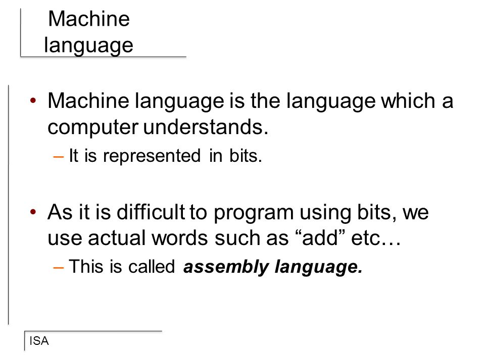 Machine language is the language which a computer understands.
