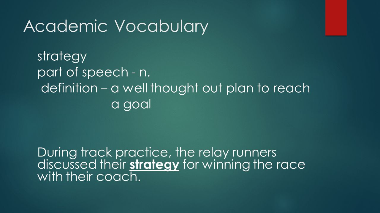 Academic Vocabulary strategy part of speech - n.