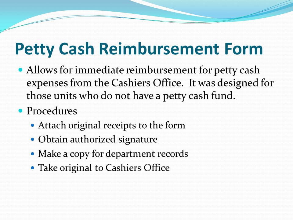 Petty Cash Reimbursement Form