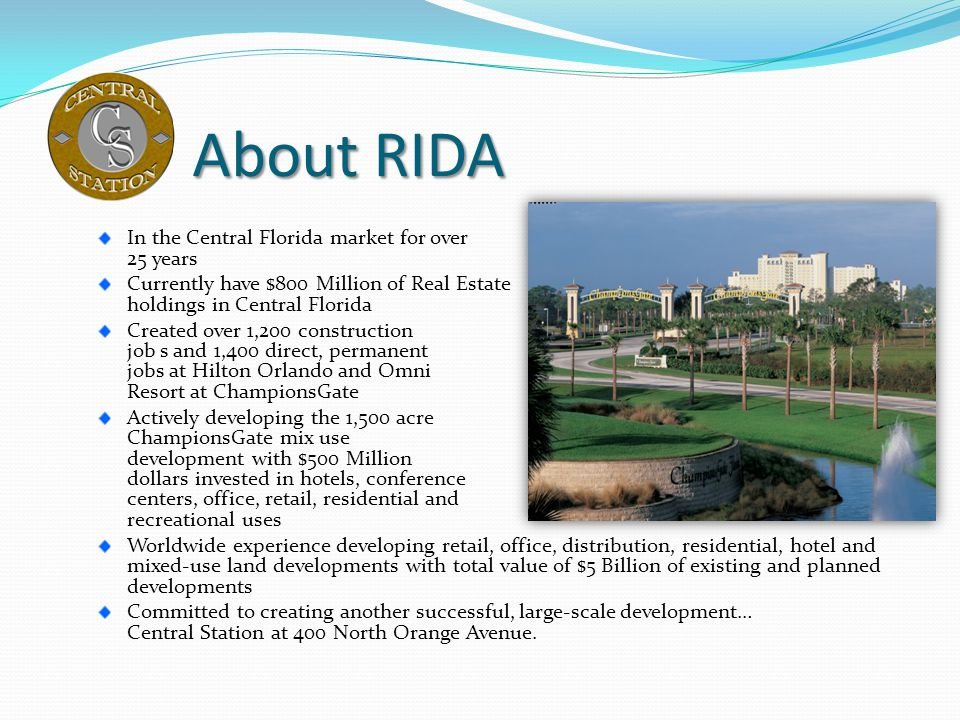 About RIDA In the Central Florida market for over 25 years