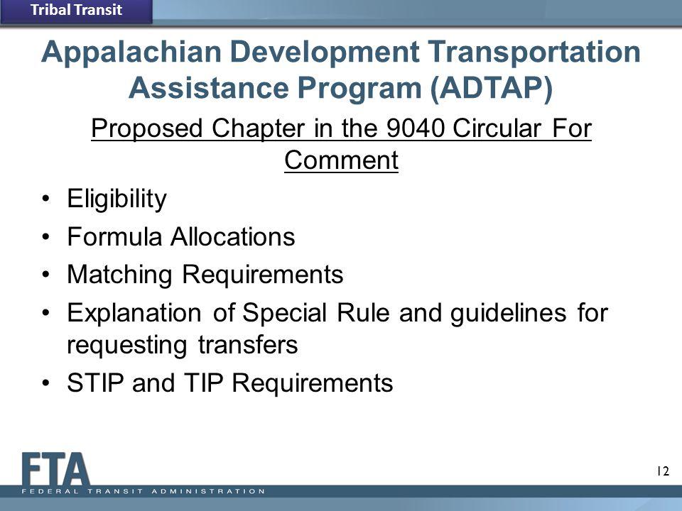 Appalachian Development Transportation Assistance Program (ADTAP)