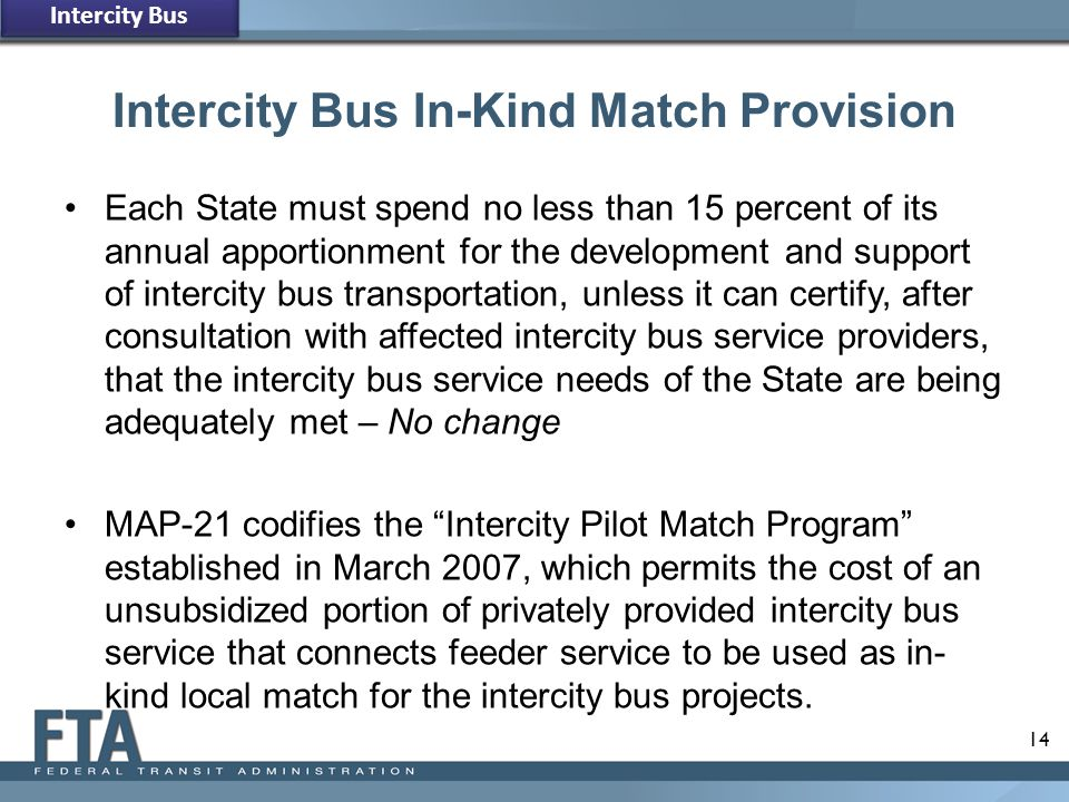 Intercity Bus In-Kind Match Provision