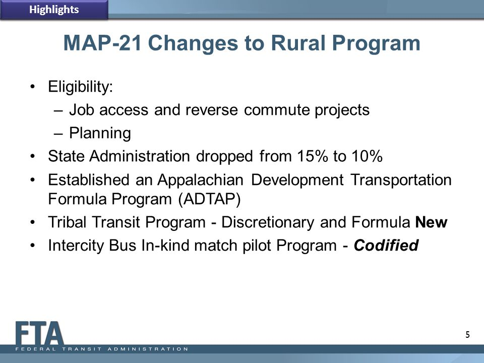 MAP-21 Changes to Rural Program