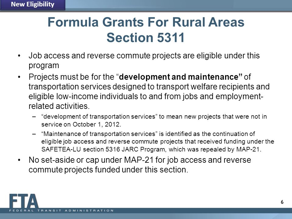 Formula Grants For Rural Areas Section 5311