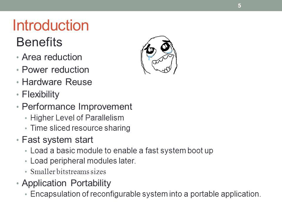 Introduction Benefits Area reduction Power reduction Hardware Reuse