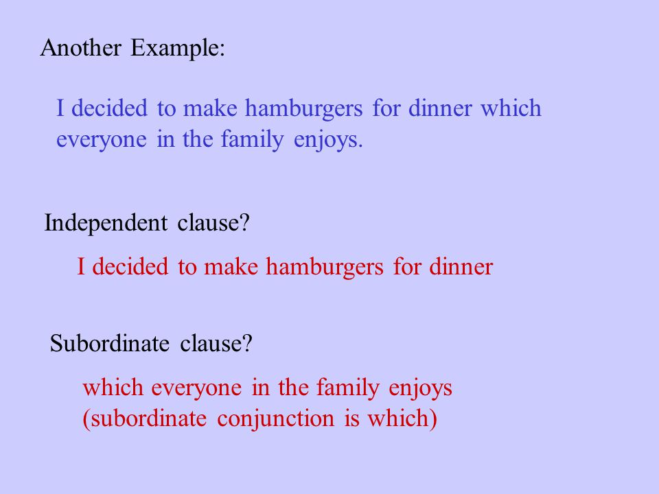 Another Example: I decided to make hamburgers for dinner which. everyone in the family enjoys. Independent clause