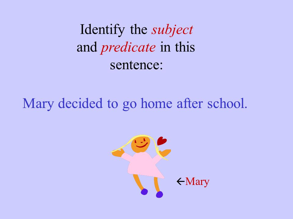 Mary decided to go home after school.