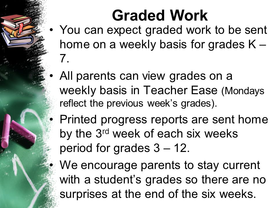 Graded Work You can expect graded work to be sent home on a weekly basis for grades K – 7.