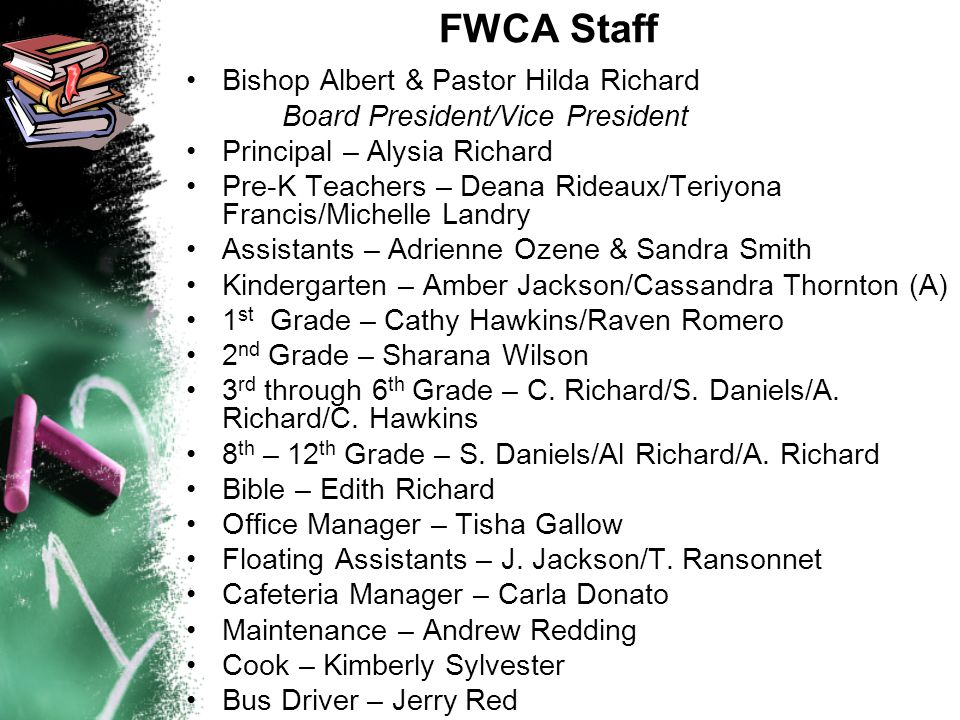 FWCA Staff Bishop Albert & Pastor Hilda Richard