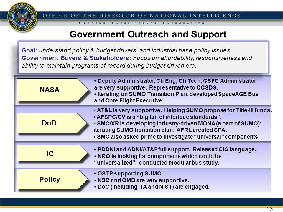 Government Outreach and Support