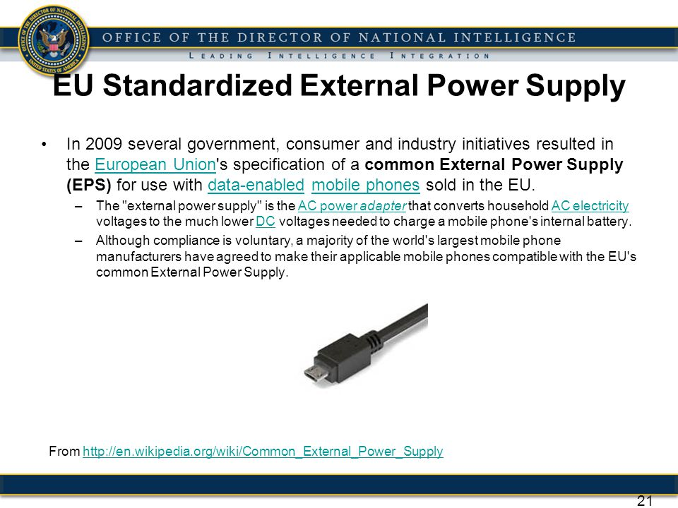 EU Standardized External Power Supply