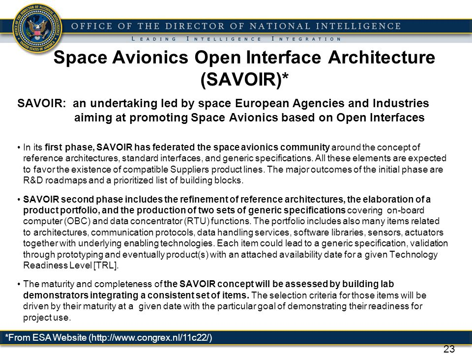 Space Avionics Open Interface Architecture (SAVOIR)*