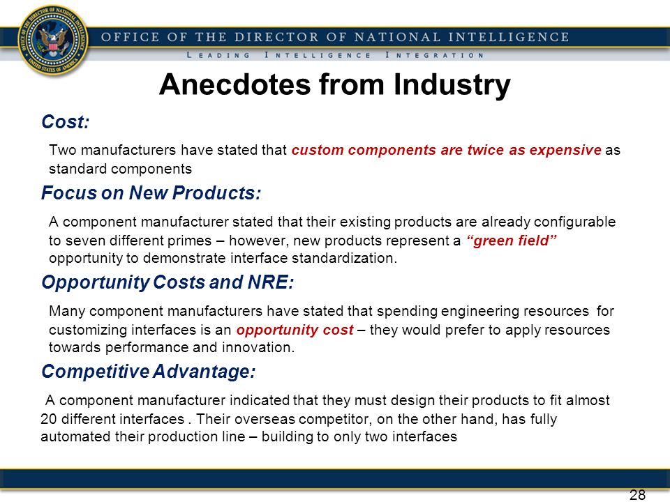 Anecdotes from Industry