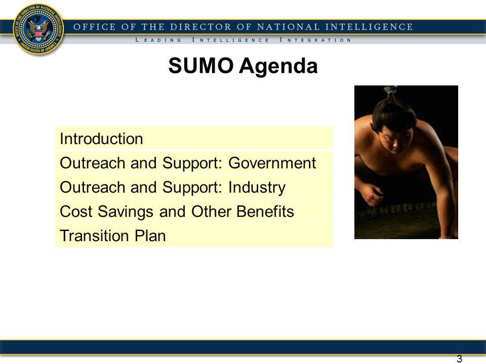 SUMO Agenda Introduction Outreach and Support: Government