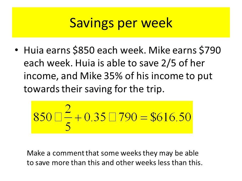 Savings per week