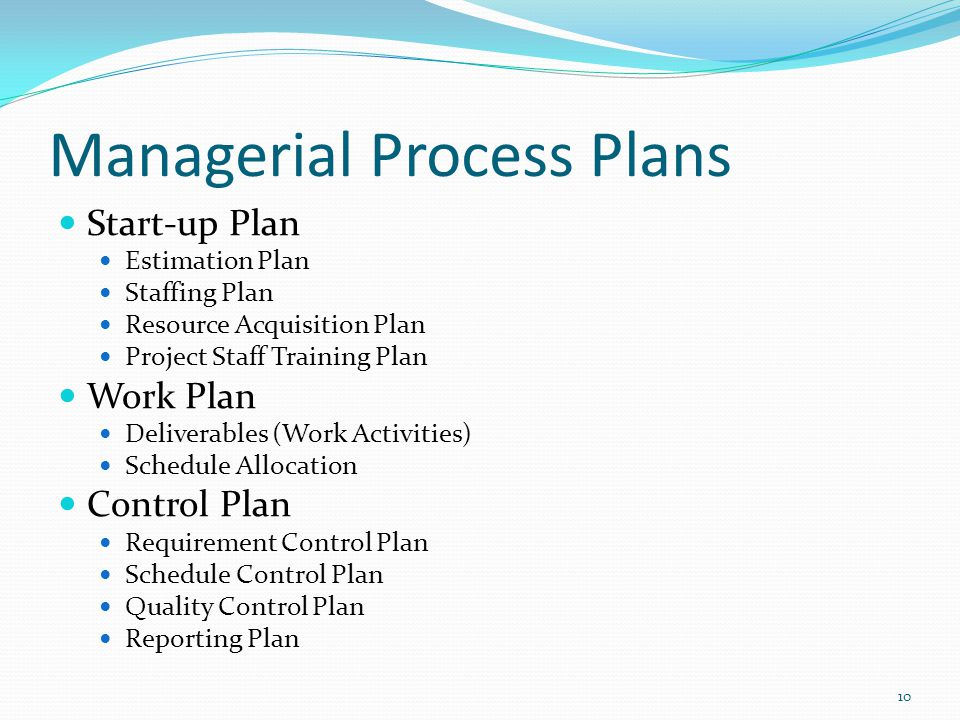 Managerial Process Plans