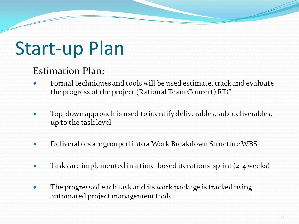 Start-up Plan Estimation Plan: