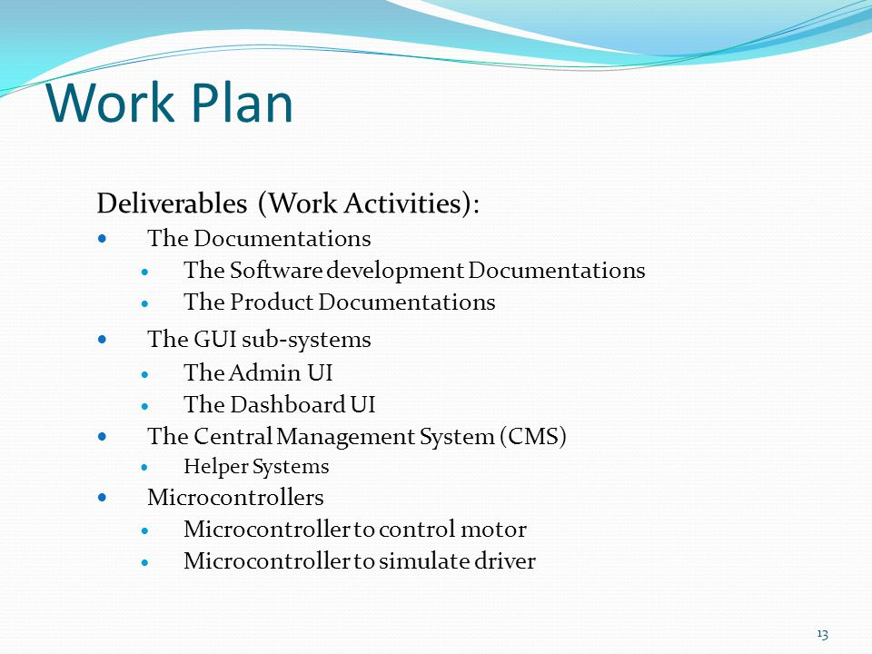 Work Plan Deliverables (Work Activities): The Documentations
