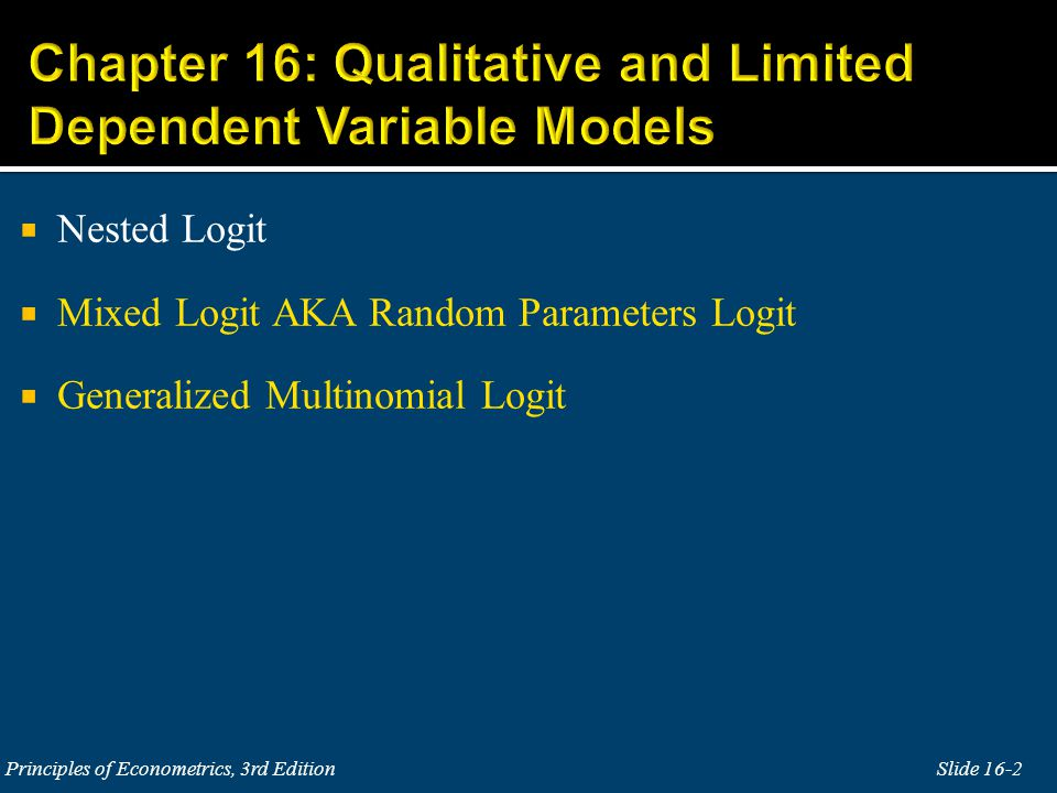Chapter 16: Qualitative and Limited Dependent Variable Models