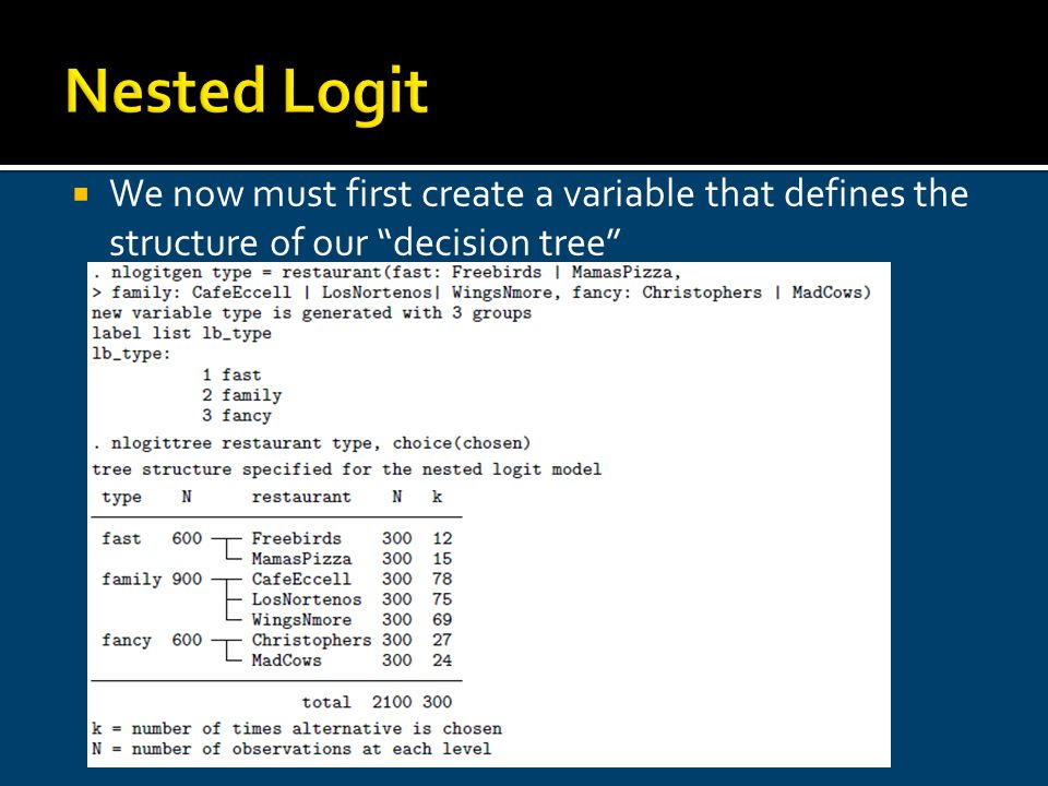 Nested Logit We now must first create a variable that defines the structure of our decision tree