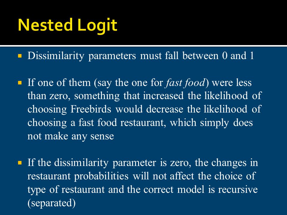 Nested Logit Dissimilarity parameters must fall between 0 and 1