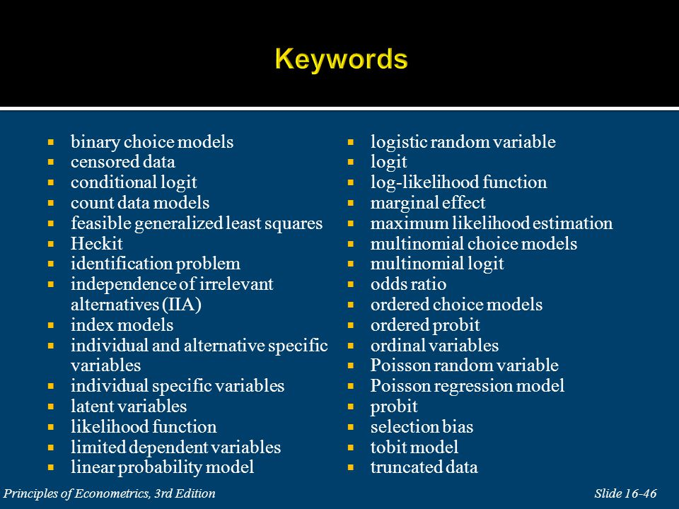 Keywords binary choice models logistic random variable censored data