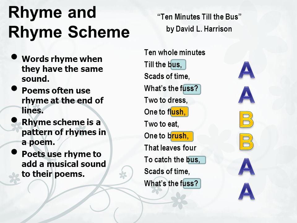 A A B B A A Rhyme and Rhyme Scheme