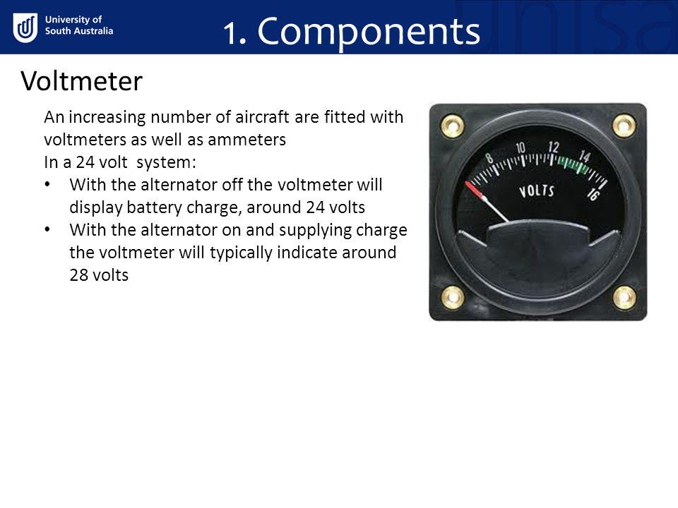 1. Components Voltmeter. An increasing number of aircraft are fitted with voltmeters as well as ammeters.