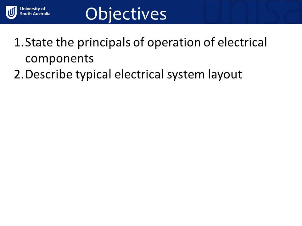 Objectives State the principals of operation of electrical components