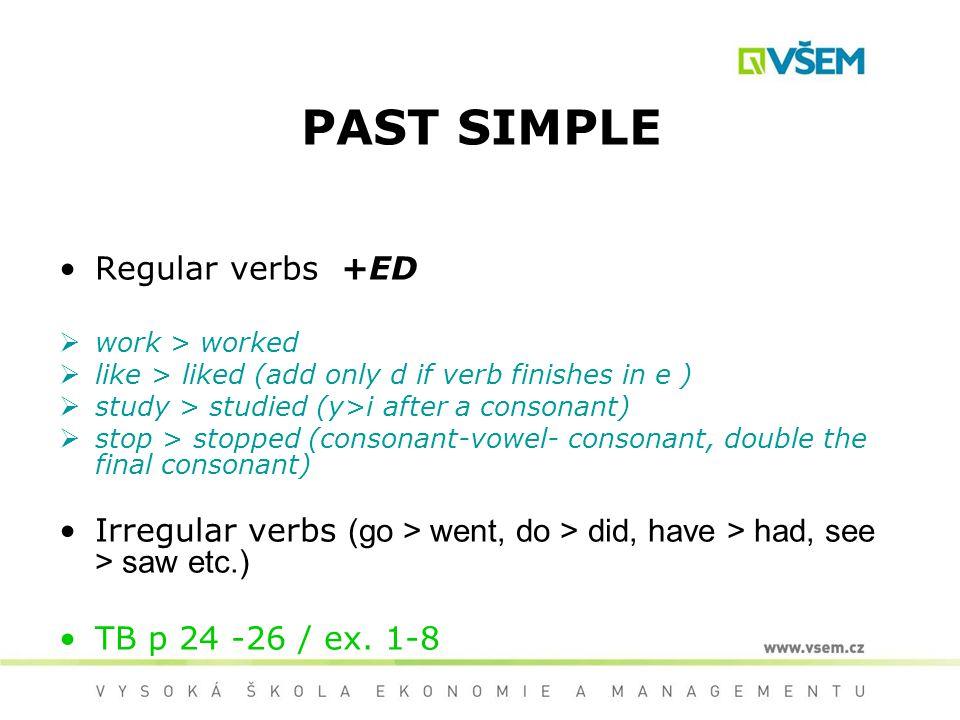 PAST SIMPLE Regular verbs +ED