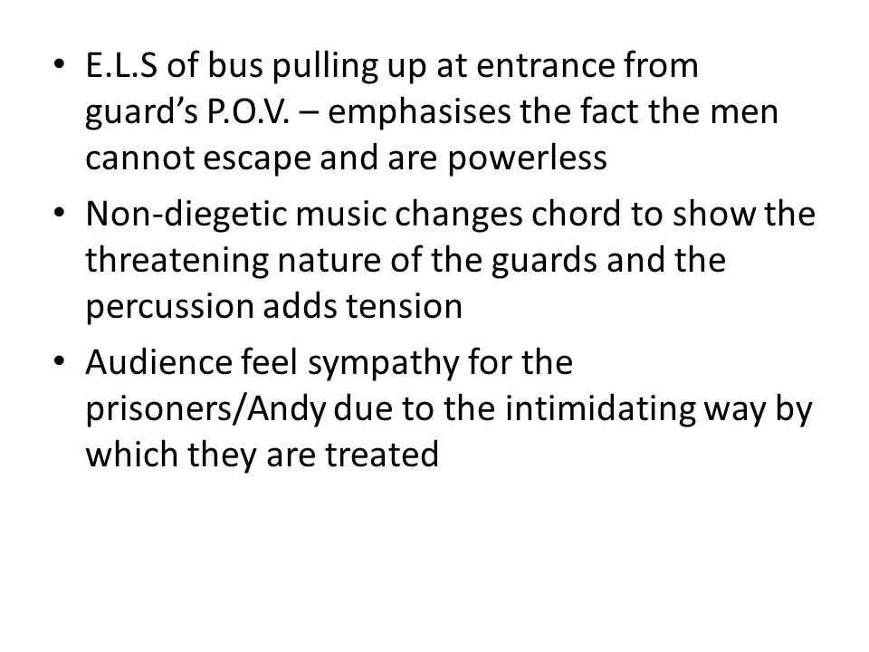 E. L. S of bus pulling up at entrance from guard's P. O. V