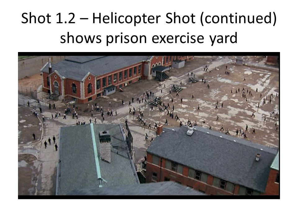 Shot 1.2 – Helicopter Shot (continued) shows prison exercise yard