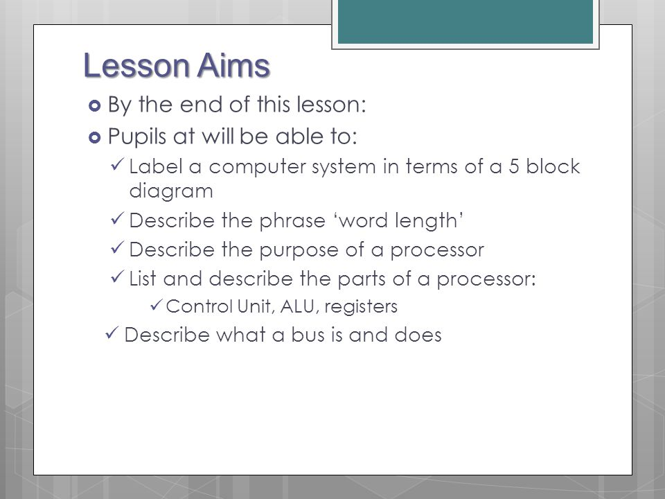 Lesson Aims By the end of this lesson: Pupils at will be able to: