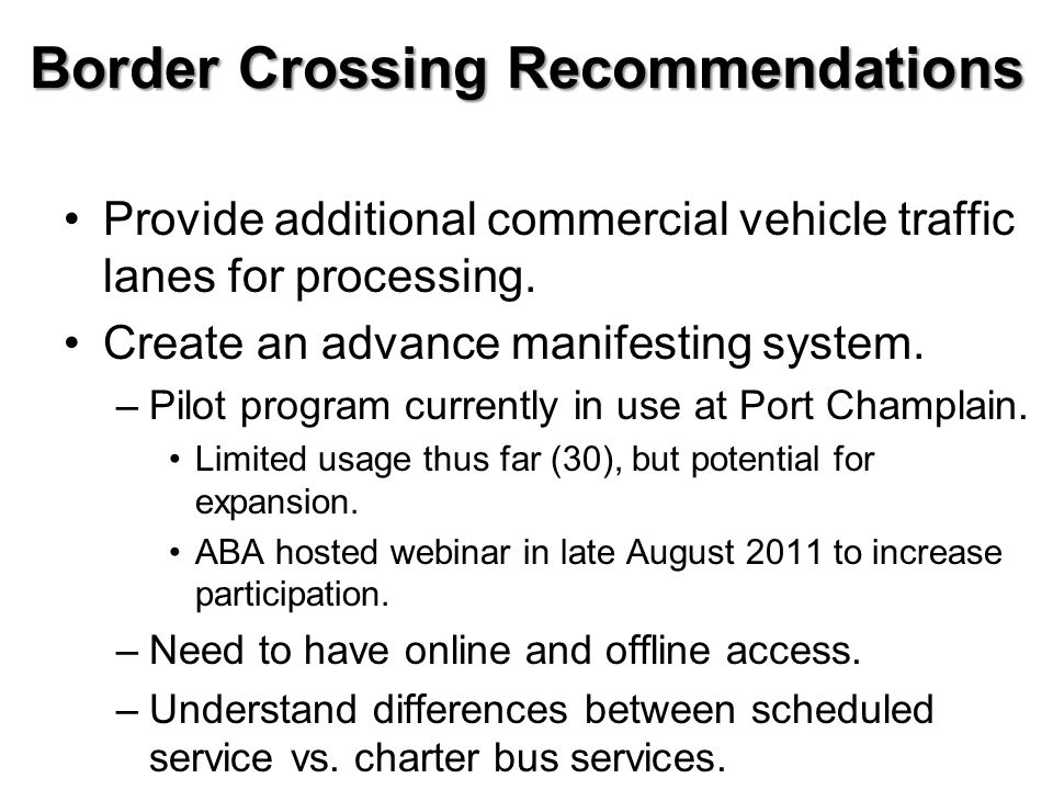 Border Crossing Recommendations